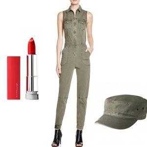 ROCAWEAR Khaki Green Military Sleeveless Jumpsuit